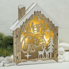 Casa de Madera Merry Christmas Detalles para Navidad