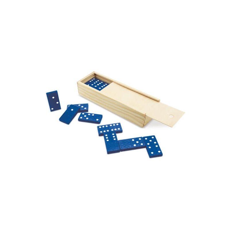 Dominó Azul en Caja de Bambú Recuerdos de Comunion