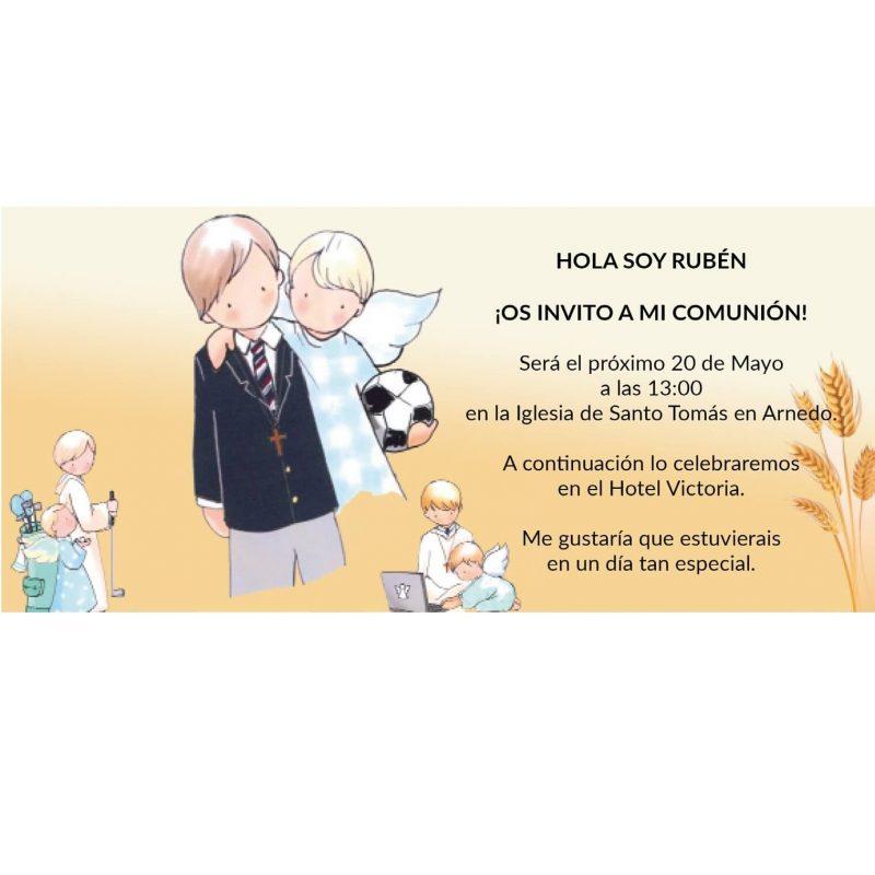 Invitacion Comunion Niño Angelito Invitaciones de Comunión