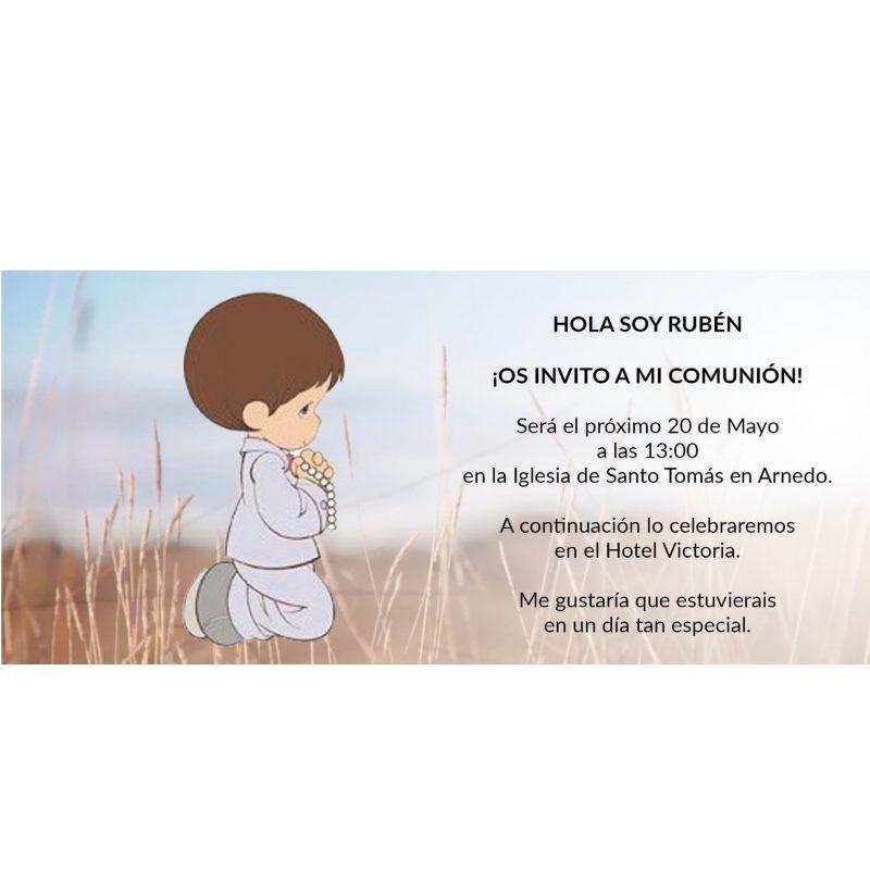 Invitacion Niño Comunion Rezando Rodillas Invitaciones de Comunión