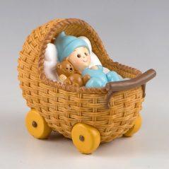 Figura Pastel Bebé en Cochecito Pijama Celeste Figuras para Tartas de Bautizo