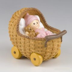 Muñeco Tarta Bebé en Cochecito Pijama Rosa Figuras para Tartas de Bautizo