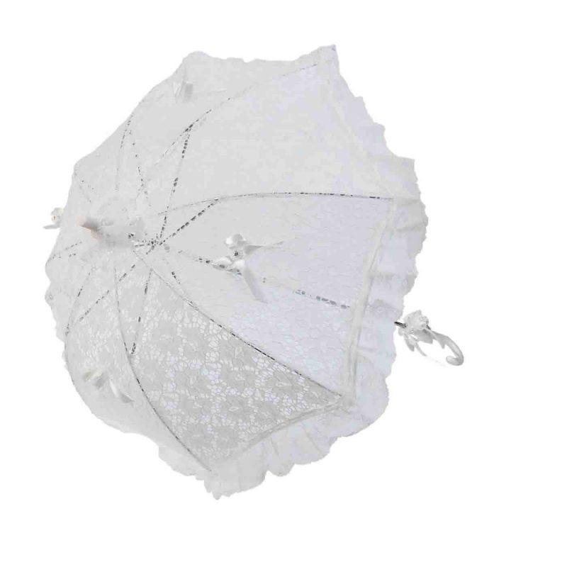 Sombrilla Novia Blanca con Volante Complementos de Boda y Novia