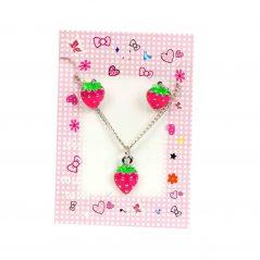 Conjunto Pendientes y collar Fresas