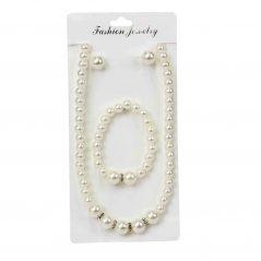Conjunto Pulsera, Collar y Pendientes Perlas