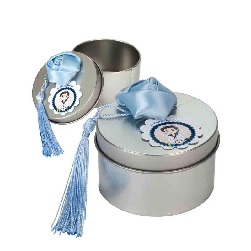 Caja Metal Redonda con Borlón Azul Recuerdos de Comunion