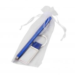 Bolígrafo Azul con Llavero a Juego Detalles Comunión para Hombres