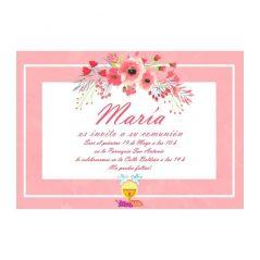 Invitación Comunión Rosa Flores Invitaciones de Comunión0,48 €