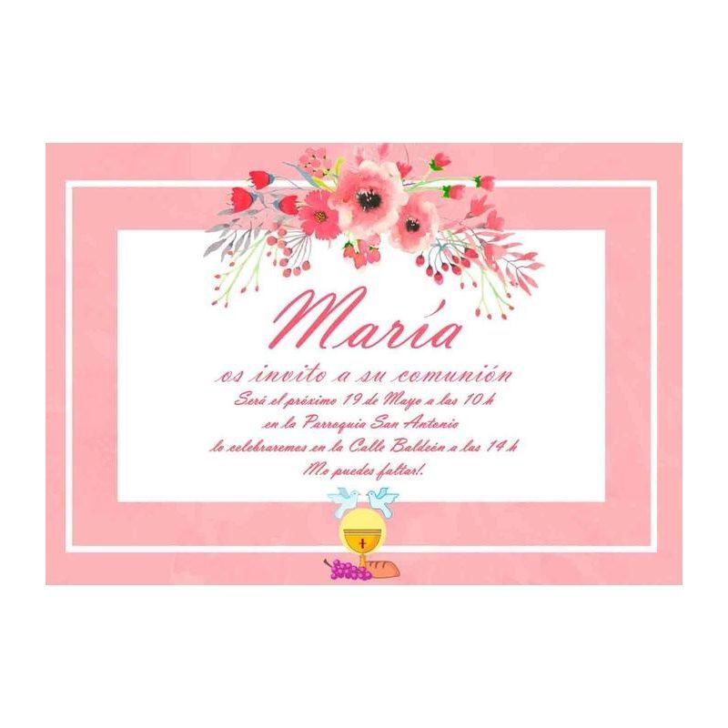 Invitación Comunión Rosa Flores Invitaciones de Comunión