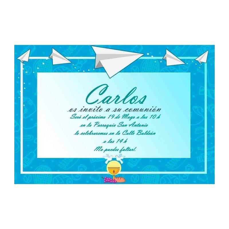 Invitación Comunión Aviones de Papel Invitaciones de Comunión