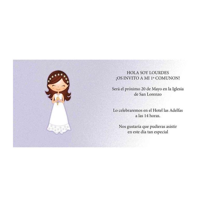 Invitación Comunión Niña Rosario Invitaciones de Comunión