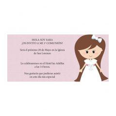 Invitación Comunión Niña Lazo Blanco