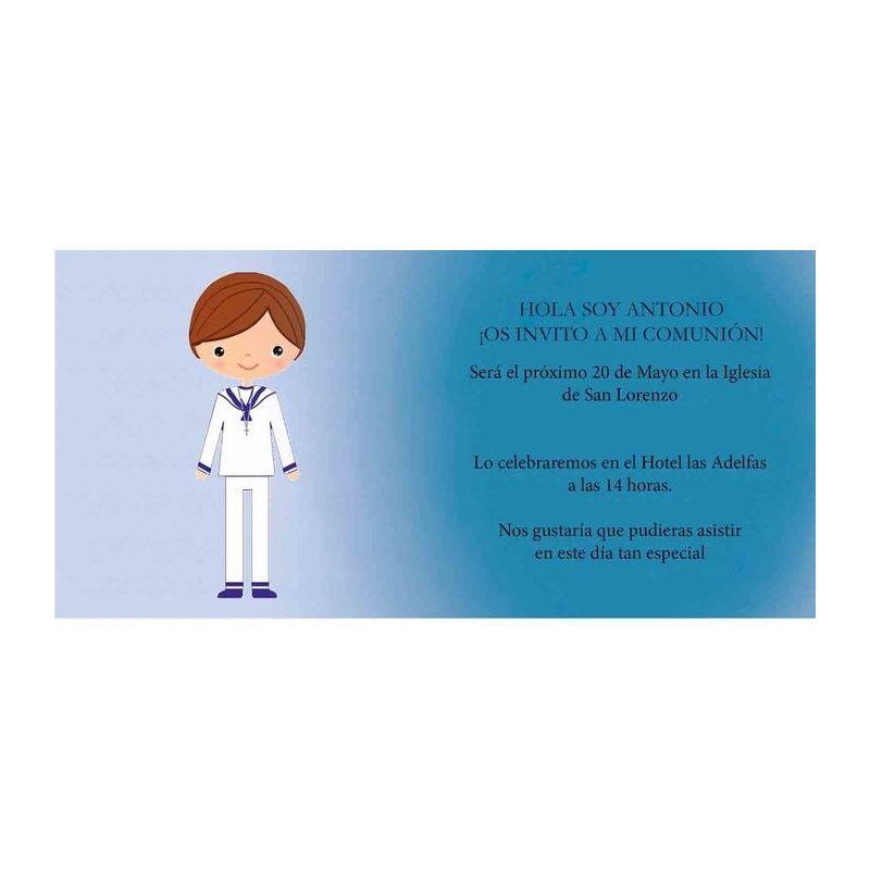 Invitación Comunión Niño Marinerito Invitaciones de Comunión