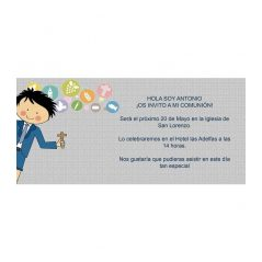 Invitación Comunión Niño Chaqueta Azul