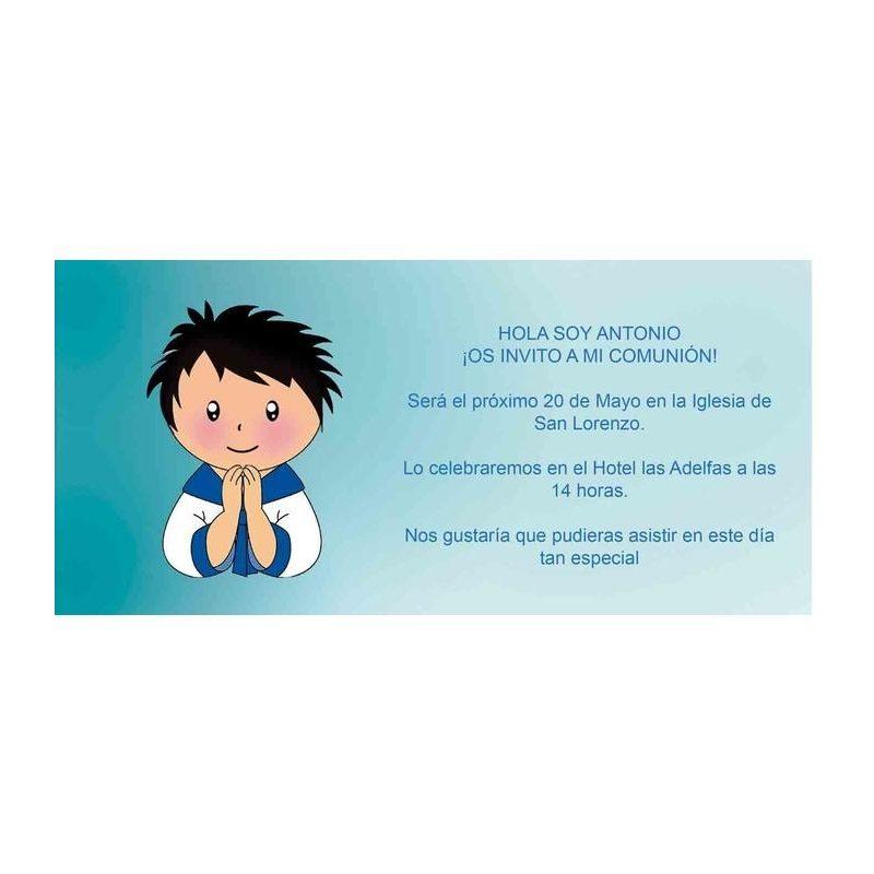 Invitación Comunión Niño Rezando Invitaciones de Comunión