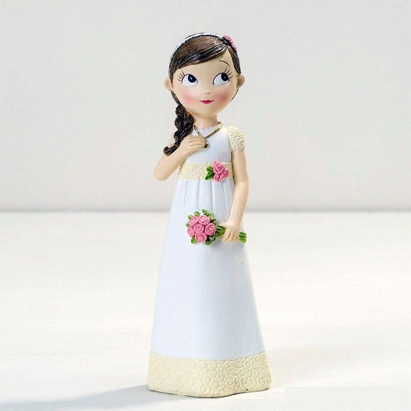 Figura Niña Comunión Vestido Romántico Figuras Tartas para Comunión