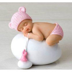 Figura Niña Bebé Rosa Huevo Figuras para Tartas de Bautizo