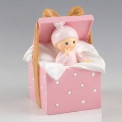 Figura Pastel Hucha Bebé Regalo Rosa Figuras para Tartas de Bautizo