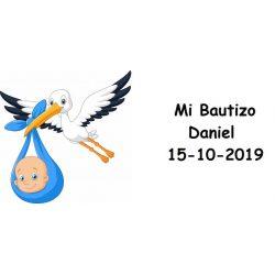 Tarjeta Bautizo Cigüeña Niño Pico