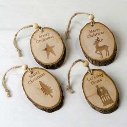Colgantes Navideños Madera (Min 4) Detalles para Navidad