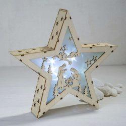Estrella Pesebre Madera Luz Detalles para Navidad