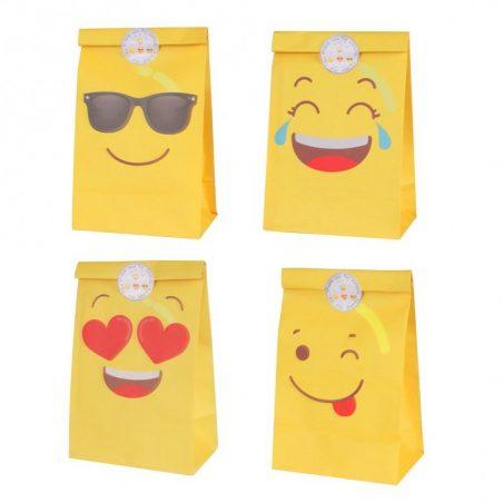 Lote 12 Bolsas Papel Emoticonos con Adhesivos