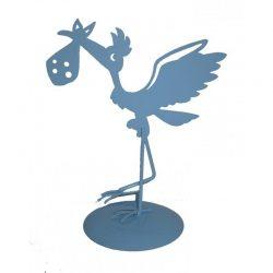 Figura Pastel Metálica Cigüeña Azul Figuras para Tartas de Bautizo