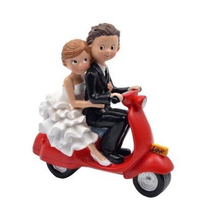 Figura Novios Moto Roja Love Figuras para Tartas de Boda 13,43 €