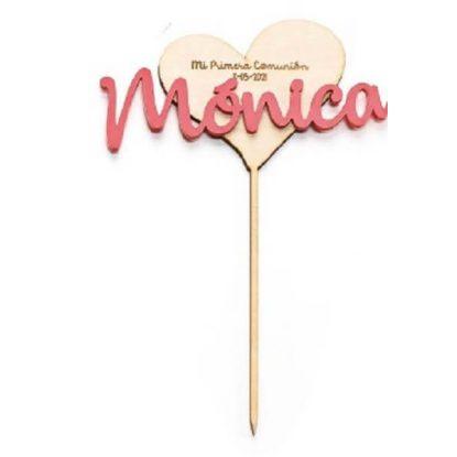 Cake Topper Corazón Madera Rosa Figuras Tartas para Comunión