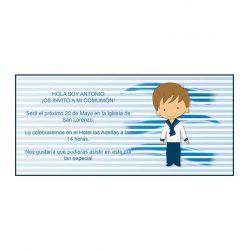 Invitación Comunión Marinero Azul Invitaciones de Comunión