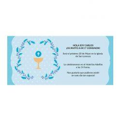 Invitación Comunión Cáliz Azul Invitaciones de Comunión