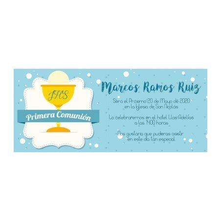 Invitación Comunión Cáliz Elegante Azul Invitaciones de Comunión0,48 €