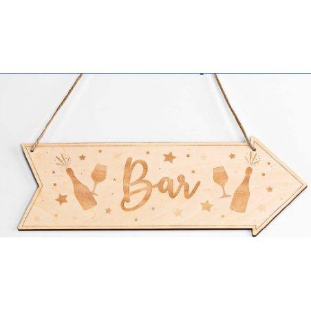 Cartel Madera Dirección Bar Decoraciones de Boda8,20 €