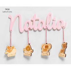 Nombre Bebé Rosa Bautizo Colgantes Madera Decoraciones de Bautizo para Detalles16,70 €