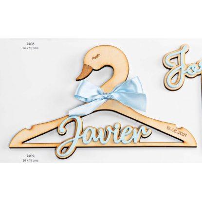 Percha Bebé Cisne Madera Azul Regalos para Padrinos de Bautizo