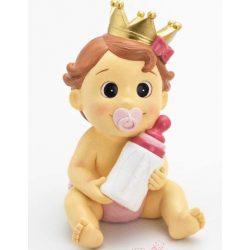 Hucha Bebé Niña Corona Rosa Figuras para Tartas de Bautizo