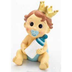 Hucha Bebé Niño Corona Celeste Figuras para Tartas de Bautizo