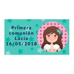 Pegatina Comunión Niña Rezando ( Pliego 48 ud) Comuniones