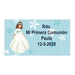 Pegatina Comunión Niña Fajín Azul ( Pliego 48 ud)