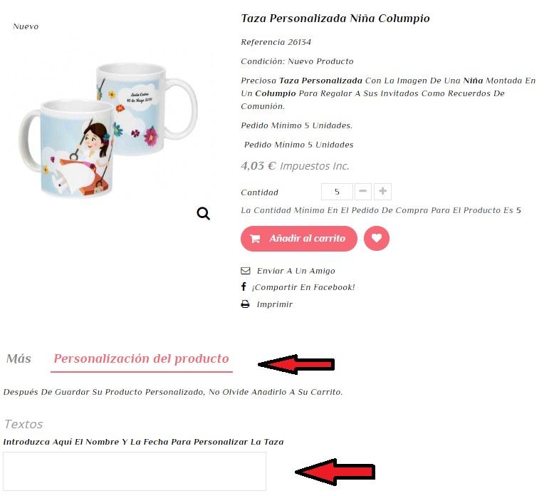 Ejemplo de personalización